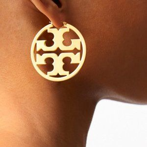 Tory Burch-gold signature HOOP earrings